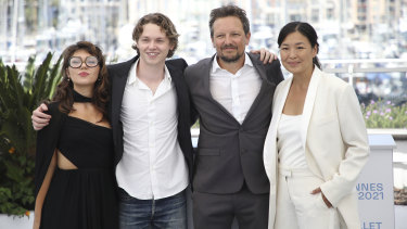 From left: Val Kilmer's children Mercedes and Jack, and Val directors Leo Scott and Ting Poo.