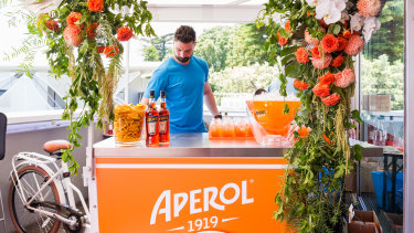 Aperol Spritz bar cart.