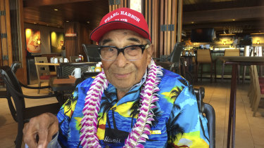 Ray Chavez poses for a photo while eating breakfast in Honolulu in 2016.