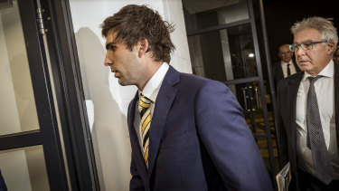 Andrew Gaff arrives at the tribunal.