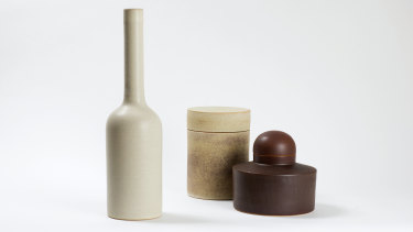 Ulrica Trulsson, Shape #1, set of three, stoneware, satin matt and dry glazes, iron stain, glossy interiors.