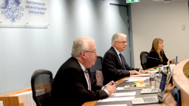 Commissioners Robert Fitzgerald, Justice Peter McClellan and Commissioner Helen Milroy at the Royal Commission into Institutional Responses to Child Sexual Abuse.