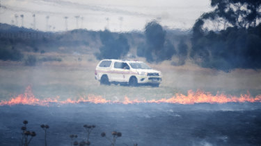 The grassfire burned at the side of the Calder Freeway on Monday.