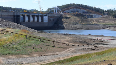 Keepit Dam, a reservoir which releases water into the Namoi River that usually flows into Walgett, is down to about one quarter of one per cent full.