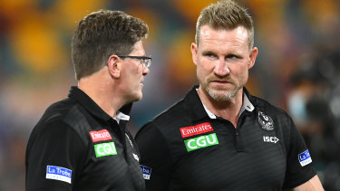 Collingwood coach Nathan Buckley, right, says his team's next opponent, the West Coast Eagles, would be very confident facing the Pies.
