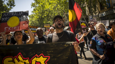 Thousands marched through the streets of Melbourne to mark Invasion Day last year.