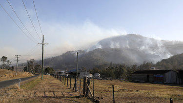 Smoke seen from an active bushfire near the rural town of Canungra in the Scenic Rim region on Friday.