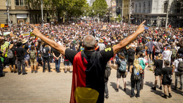 Thousands marched through the streets of Melbourne to protest Australia Day last year, before COVID-19 took hold in the country.