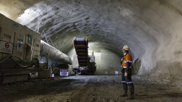 Construction on the NorthConnex tunnel.