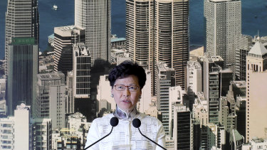 Hong Kong's Chief Executive Carrie Lam arrives holds a press conference in Hong Kong.