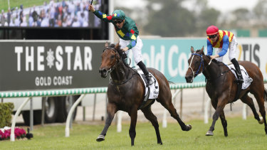 Alligator Blood streets away with the Magic Millions Guineas.