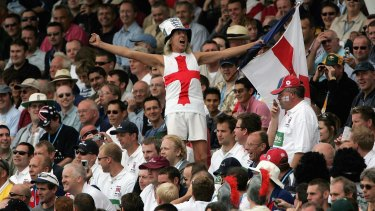 A member of the Barmy Army in full song during the Ashes Test at Edgbaston, 2005.