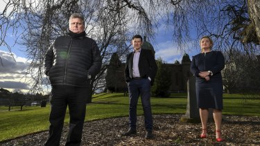 Richard Jabara ( in puffer jacket), Old Xaverian and abuse survivor, with Clare Leaney, CEO of the In Good Faith Foundation and Xavier principal William Doherty at the Kew school.