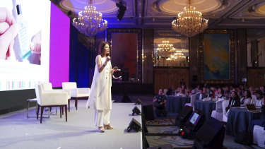 Sabrina Tan takes the stage at the Dell Women Entrepreneurs Network in Singapore this week.