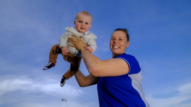 Brittany Gibson with son Henry.