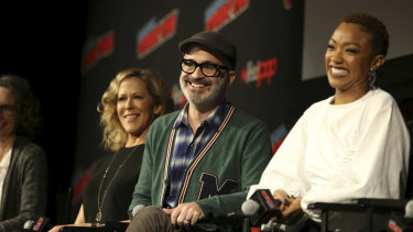 Star Trek: Discovery producers Heather Kadin (left) and Alex Kurtzman (centre), and star Sonequa Martin-Green (right) on stage at New York Comic-Con 2019.