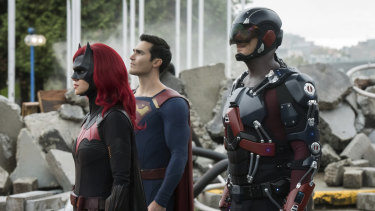 Batwoman (Ruby Rose), Superman (Tyler Hoechlin) and Atom (Brandon Routh).