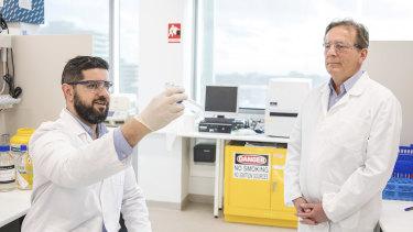 Professor Colin Pouton (right) and colleague Dr Harry Al-Wassiti of Monash University.