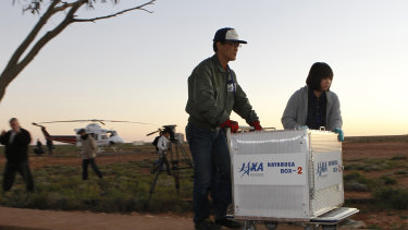 Research team waiting for the first Hayabusa capsule drop in 2010.