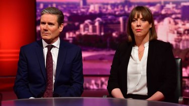 Sir Keir Starmer and Jess Phillips appear on The Andrew Marr Show on January 5, 2019 in London.