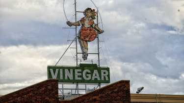 Little Audrey, the iconic Skipping Girl Vinegar neon sign in Richmond.