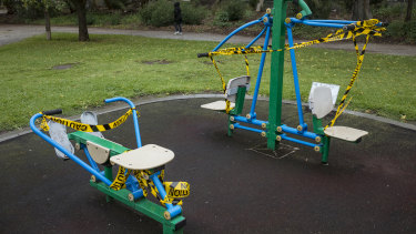 The use of public fitness equipment is not allowed.