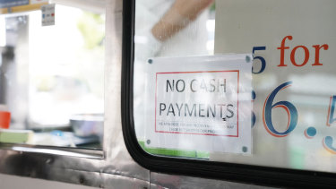 Amid fears of getting the coronavirus, many businesses have stopped accepting cash from customers.