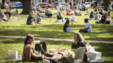 Catching up with friends in parks became a feature of Melbourne in 2020.