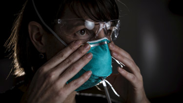 Anaesthetist Michelle Horne gets fitted for a mask by the Australian Society of Anaesthetists