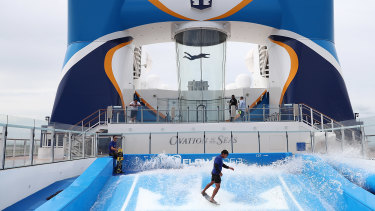 Activities aboard the Ovation of the Seas, during a 2017 visit to Brisbane.