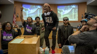 Stevante Clark, brother of Stephon Clark, stormed the Sacramento City Council chambers to protest the shooting death of his brother.