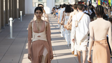 Dion Lee's New York Fashion Week show was held on the roof of a school on Manhattan's trendy Lower East Side.