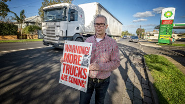 "Williamstown Road resident Graeme Hammond: ""Now is the time to get trucks out of bloody residential streets."""