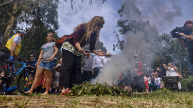 Members of the public gathered for a cleansing ceremony at Ceres, near Merri Creek, on Saturday.