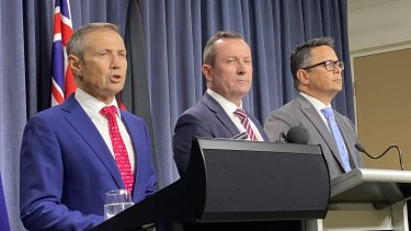 Health Minister Roger Cook, Premier Mark McGowan and Treasurer Ben Wyatt brief journalists on the risks posed by coronavirus to the WA economy.