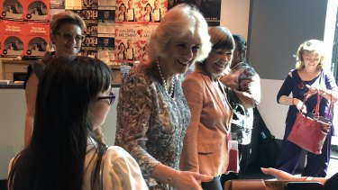 Camilla said hello to people gathered in the Brisbane Powerhouse for the Women of the World festival.
