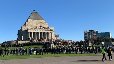 Police at the Shrine of Remembrance.