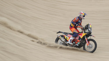 Beach day: Toby Price on his KTM motorbike at the Dakar Rally.