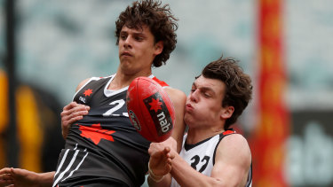 Jackson Callow (right) in action on grand final day last year.