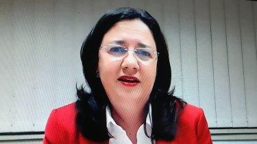 Premier Annastacia Palaszczuk speaks during Monday night's community debate.