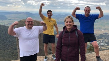 The PM's speechwriter Paul Ritchie and Liberal MPs Trevor Evans, Angie Bell and Tim Wilson climbed Gibraltar Peak.