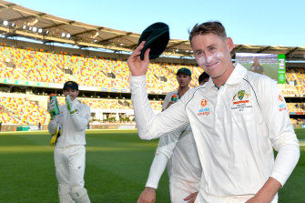 Labuschagne acknowledges the few fans present at the Gabba.