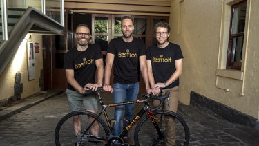 Engineers Ben Schultz (left), James Woolcock and Dean McGeary started a bespoke bicycle company, Bastion Cycles, with the help of their redundancy payouts from Toyota.
