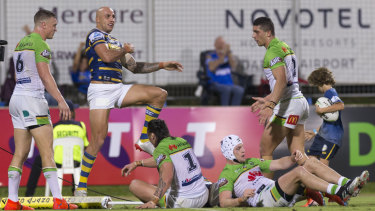 Rampaging: Blake Ferguson scores for the Eels in Darwin.