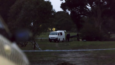 Police removed the woman's body from the crime scene in Royal Park late on Saturday afternoon.