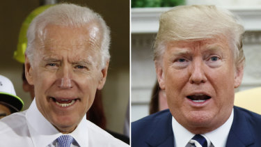 US President Donald Trump has confirmed that he discussed Democratic presidential hopeful Joe Biden, left, in a phone call with Ukrainian President Volodymyr Zelensky.