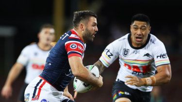 Hard to stop: Tedesco spots a gap in the Panthers defence. He leads the NRL charts across three attacking categories.
