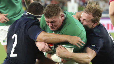 Tadhg Furlong crosses for one of Ireland's three first-half tries during their 24-point win over Six Nations rivals Scotland.