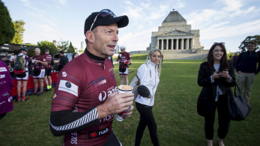 Tony Abbott during the 2018 Pollie Pedal at the Shrine of Remembrance in Melbourne.