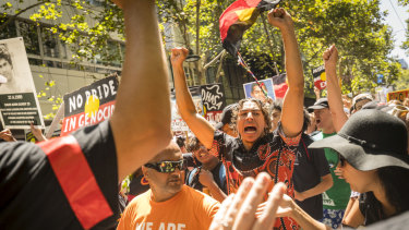 Thousands of people joined the Invasion Day march from Parliament House to Flinders Street Station on Saturday.